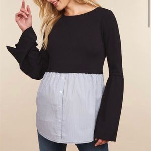 Babydoll Bell Sleeve Maternity Top Size M